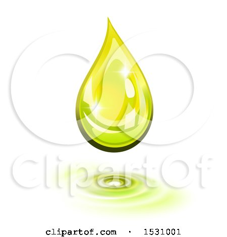 Clipart of a 3d Green Oil Drop over Ripples, on a White Background - Royalty Free Vector Illustration by Oligo