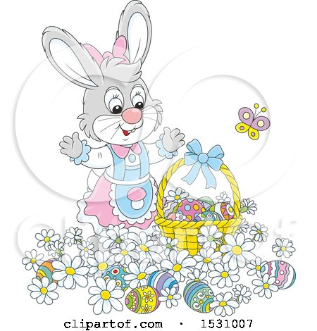 Clipart of a Cute Gray Female Easter Bunny Rabbit with a Basket and Eggs in Flowers - Royalty Free Vector Illustration by Alex Bannykh