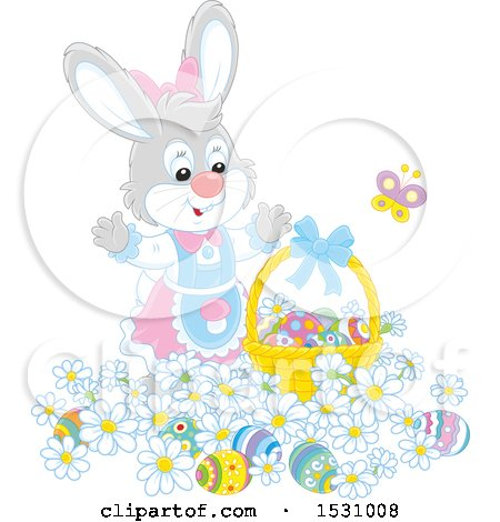 Clipart of a Cute Gray Female Easter Bunny with a Basket and Eggs in Flowers - Royalty Free Vector Illustration by Alex Bannykh