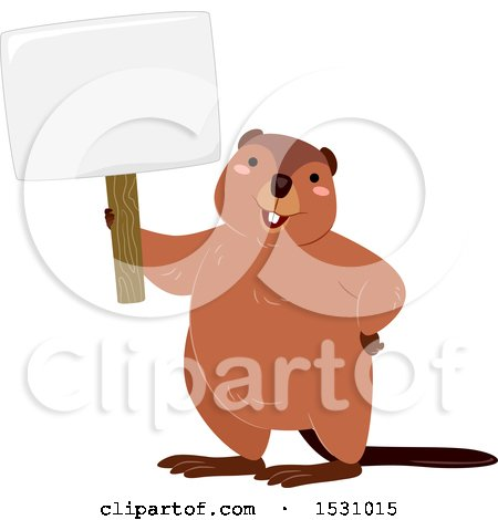 Clipart of a Happy Beaver Holding a Blank Sign - Royalty Free Vector Illustration by BNP Design Studio