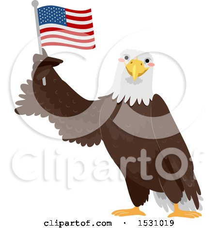 Clipart of a Bald Eagle Holding up an American Flag - Royalty Free Vector Illustration by BNP Design Studio