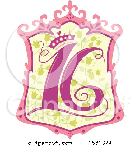 Clipart of a Number Sixteen Design with a Princess Crown - Royalty Free Vector Illustration by BNP Design Studio
