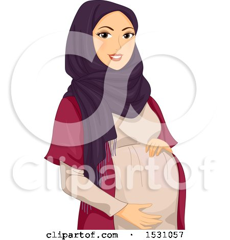 Clipart of a Pregnant Muslim Woman Holding Her Belly - Royalty Free Vector Illustration by BNP Design Studio