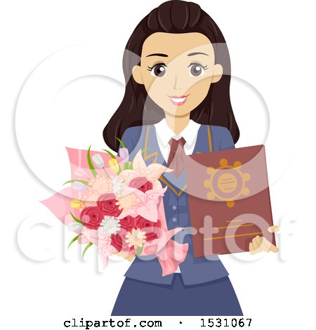 Clipart of a Happy Teen Graduate Girl Holding a Diploma and Flowers - Royalty Free Vector Illustration by BNP Design Studio