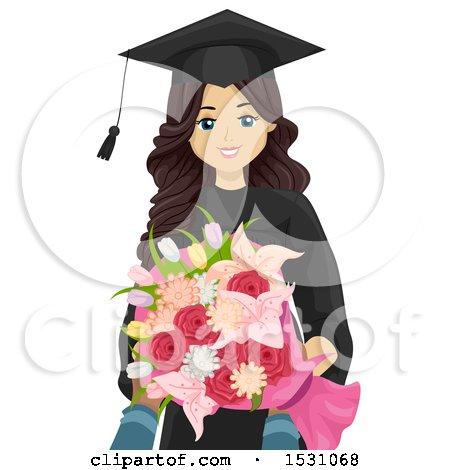 Clipart of a Happy Teen Graduate Girl Holding Flowers - Royalty Free Vector Illustration by BNP Design Studio