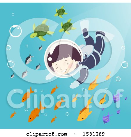 Clipart of a Boy Scuba Diver Swimming with Sea Turtles and Fish - Royalty Free Vector Illustration by BNP Design Studio