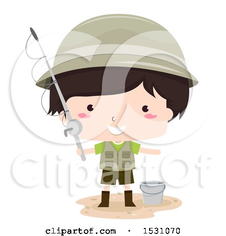 Clipart of a Boy Fisherman Holding a Pole and Standing by a Bucket - Royalty Free Vector Illustration by BNP Design Studio