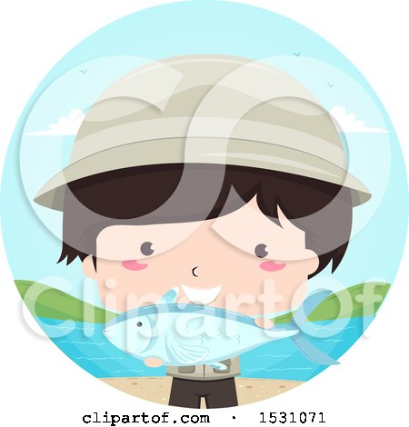 Clipart of a Fisherman Boy Holding a Catch - Royalty Free Vector Illustration by BNP Design Studio