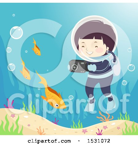Clipart of a Boy Scuba Diver Taking Pictures of Fish - Royalty Free Vector Illustration by BNP Design Studio