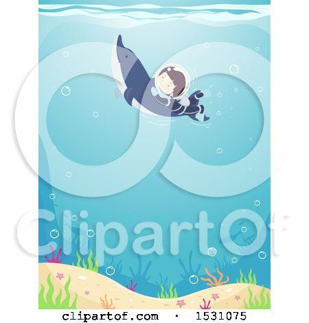Clipart of a Boy Scuba Diver Swimming with a Dolphin - Royalty Free Vector Illustration by BNP Design Studio