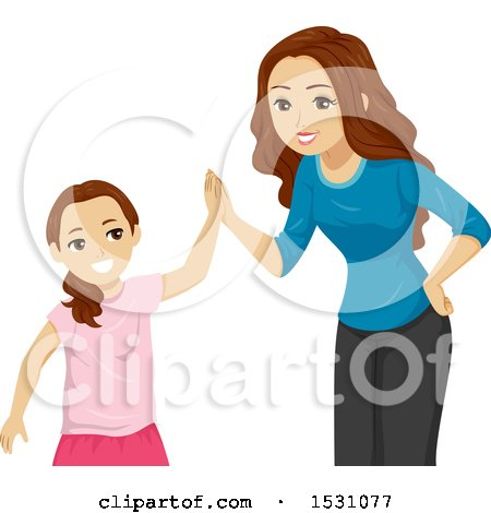 Clipart of a Teen Girl Giving Her Sister a High Five - Royalty Free Vector Illustration by BNP Design Studio