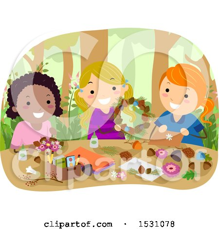 Clipart of a Group of Girls Making Forest Crafts - Royalty Free Vector Illustration by BNP Design Studio