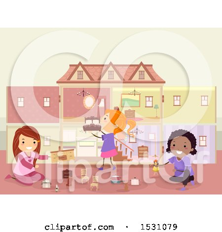 Clipart of a Group of Girls Playing with a Doll House and Furniture - Royalty Free Vector Illustration by BNP Design Studio