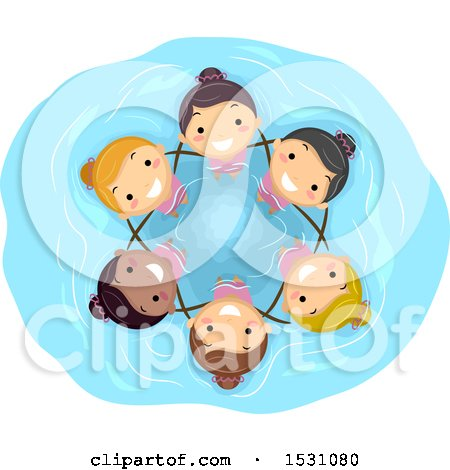 Clipart of a Group of Girls Performing Synchronized Swimming - Royalty Free Vector Illustration by BNP Design Studio