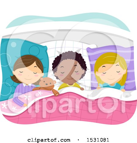 Clipart of a Girls Asleep at a Slumber Party - Royalty Free Vector Illustration by BNP Design Studio