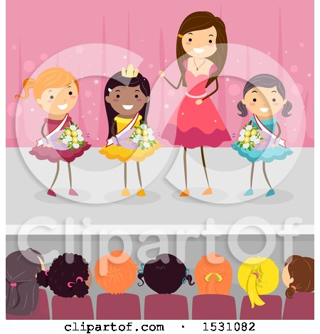 Clipart of a Crowned Beauty Pageant Winner and Competition on Stage - Royalty Free Vector Illustration by BNP Design Studio