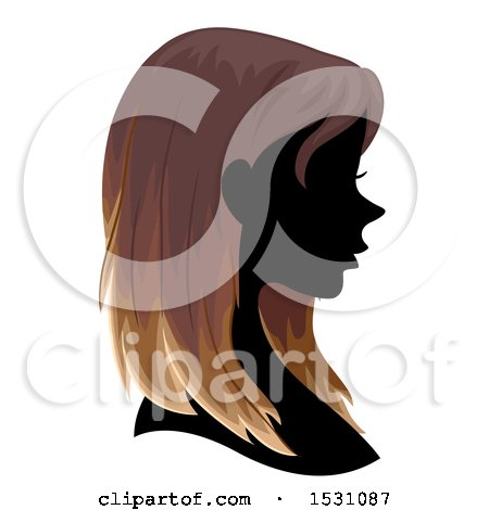 Clipart of a Silhouette Female Profile with Ombre Hair - Royalty Free Vector Illustration by BNP Design Studio