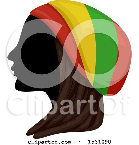 Clipart of a Silhouette Female Profile with Dreadlocks and a Rastafarian Hat - Royalty Free Vector Illustration by BNP Design Studio