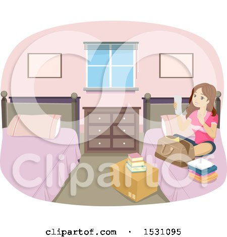 Clipart of a Teen Girl Reading a Packing List in Her Dorm Room - Royalty Free Vector Illustration by BNP Design Studio