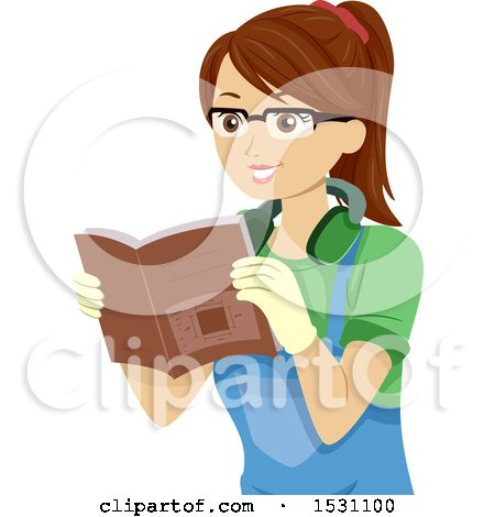 Clipart of a Teen Girl Reading a Book on Woodworking - Royalty Free Vector Illustration by BNP Design Studio