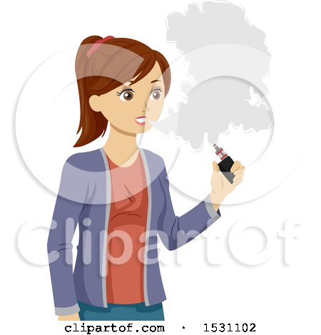 Clipart of a Teen Girl Vaping - Royalty Free Vector Illustration by BNP Design Studio
