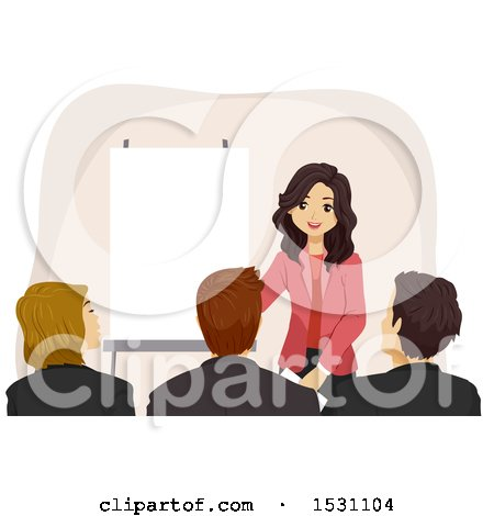 Clipart of a Teen Girl Giving a Presentation - Royalty Free Vector Illustration by BNP Design Studio