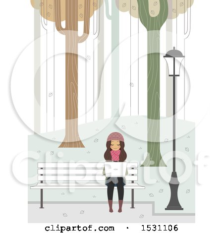 Clipart of a Teen Girl Using a Laptop on a Park Bench on a Winter Day - Royalty Free Vector Illustration by BNP Design Studio