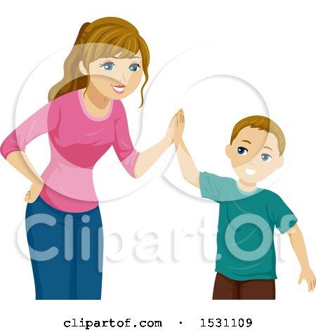 Clipart of a Teen Girl Giving Her Brother a High Five - Royalty Free Vector Illustration by BNP Design Studio