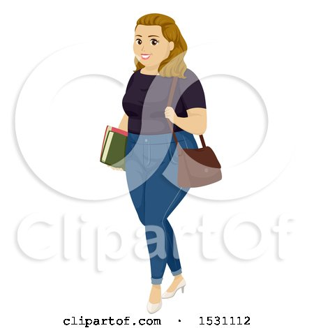 Clipart of a Chubby Teen Girl Student - Royalty Free Vector Illustration by BNP Design Studio