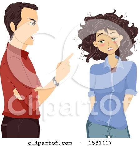 Clipart of a Father Scolding His Drunk Teen Daughter - Royalty Free Vector Illustration by BNP Design Studio