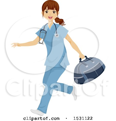 Clipart of a Happy Traveling Nurse Running with a Bag - Royalty Free Vector Illustration by BNP Design Studio