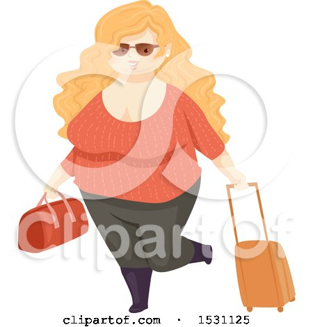 Clipart of a Happy Chubby Woman Traveler - Royalty Free Vector Illustration by BNP Design Studio