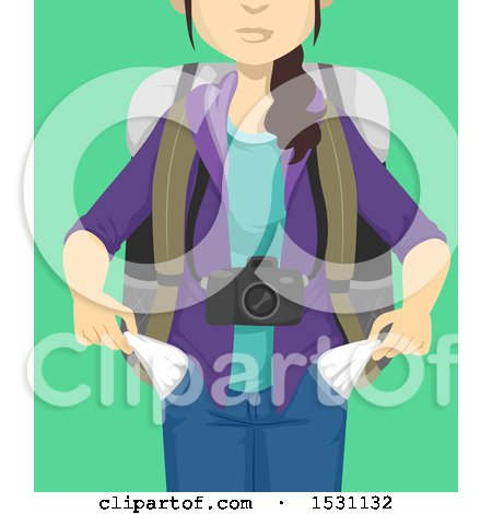 Clipart of a Broke Female Traveler Turning out Her Pockets, on a Green Background - Royalty Free Vector Illustration by BNP Design Studio