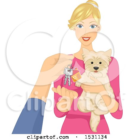 Clipart of a Pet Sitter Holding a Dog and Receiving Keys - Royalty Free Vector Illustration by BNP Design Studio
