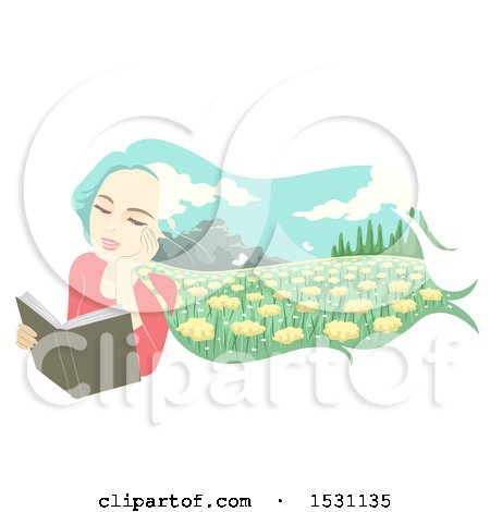 Clipart of a Woman Daydreaming of a Meadow While Reading a Book - Royalty Free Vector Illustration by BNP Design Studio