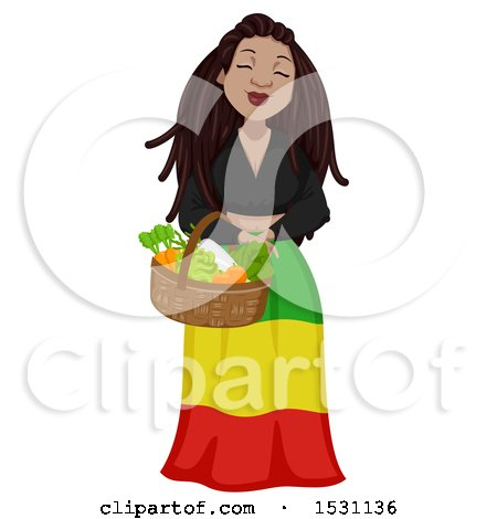 Clipart of a Rastafarian Woman Carrying a Basket of Produce - Royalty Free Vector Illustration by BNP Design Studio