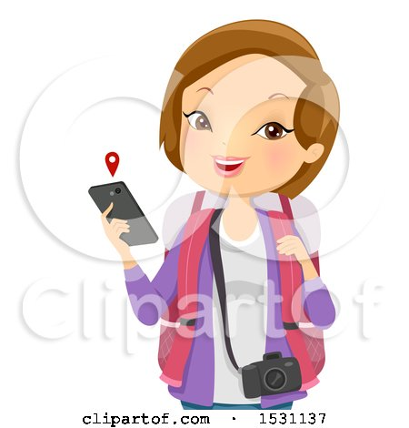 Clipart of a White Woman Tourist Holding a Cell Phone with a Map - Royalty Free Vector Illustration by BNP Design Studio