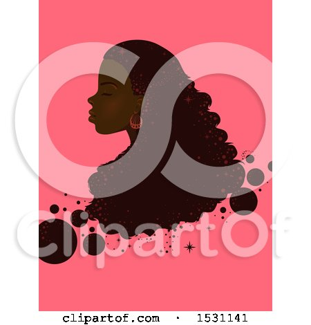 Clipart of a Black Woman in Profile with Long Hair and Bubbles on Pink - Royalty Free Vector Illustration by BNP Design Studio