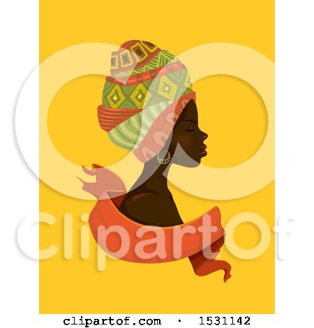 Clipart of a Beautiful African Woman in Profile, Wearing Head Scarves over a Ribbon on Yellow - Royalty Free Vector Illustration by BNP Design Studio