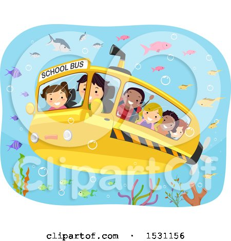 Clipart of a Submarine School Bus with Children Observing Fish Underwater - Royalty Free Vector Illustration by BNP Design Studio