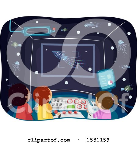 Clipart of a Group of Children in a Submarine, Observing Deep Sea Animals with Bioluminescence - Royalty Free Vector Illustration by BNP Design Studio