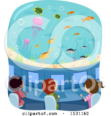 Clipart of a Group of Children Observing Fish from a Submarine - Royalty Free Vector Illustration by BNP Design Studio