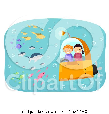 Clipart of a Boy and Girl Riding in a Submarine and Viewing Fish - Royalty Free Vector Illustration by BNP Design Studio