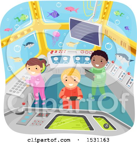 Clipart of a Group of Children Watching Fish in a Submarine - Royalty Free Vector Illustration by BNP Design Studio