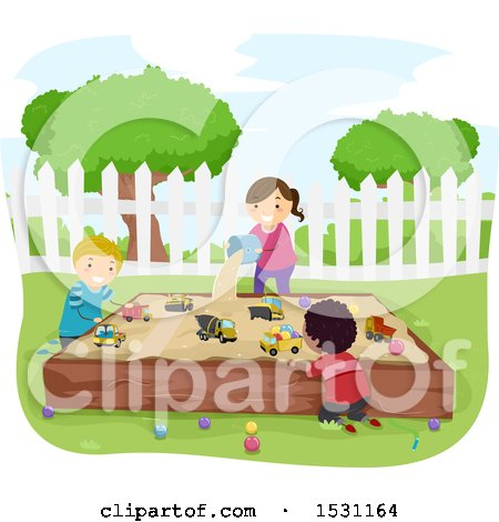 Clipart of a Group of Children Playing in a Sand Box - Royalty Free Vector Illustration by BNP Design Studio