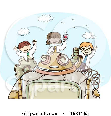 Clipart of a Sketched Group of Children Scientists with a Robot - Royalty Free Vector Illustration by BNP Design Studio