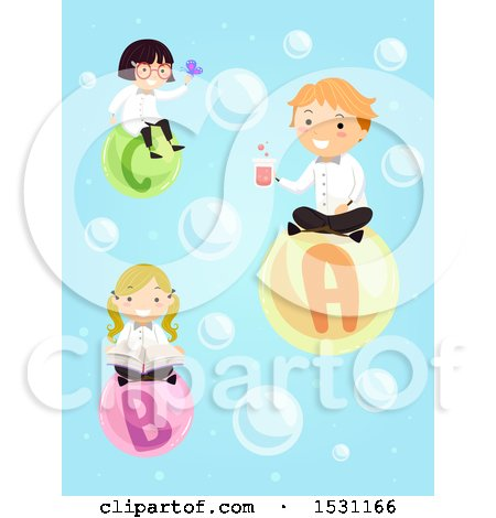 Clipart of a Group of Children Scientists Floating on Bubbles - Royalty Free Vector Illustration by BNP Design Studio