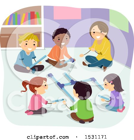 Clipart of a Group of Children and Teacher Pipe Building - Royalty Free Vector Illustration by BNP Design Studio