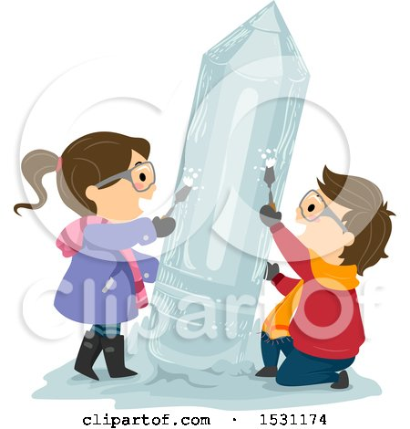 Clipart of a Boy and Girl Chiseling a Pencil Ice Sculpture - Royalty Free Vector Illustration by BNP Design Studio
