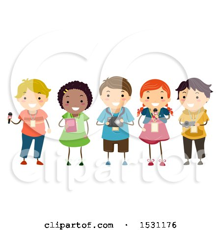 Clipart of a Group of Children Journalists with a Microphone, Note Book and Camera - Royalty Free Vector Illustration by BNP Design Studio